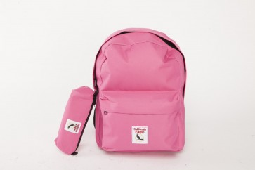 SET SAC A DOS + TROUSSE SCOLAIRE POLYESTER 600D- ROSE