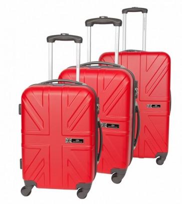 Lot de 3 valises-chariots - ABS - Rouge foncé