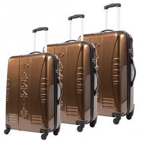 Lot de 3 valises-chariots 4 roues - ABS/PC - Bronze - GAMME  PARKWAY