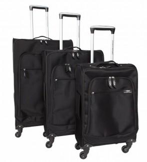 Lot de 3 valises-chariots - POLYESTER 600D - Noir