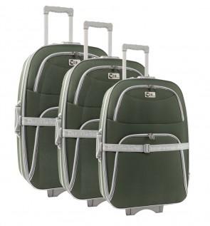 Lot de 3 valises-chariots 3 roues POLYESTER 600D - Kaki