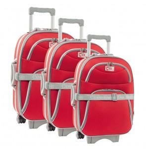 Lot de 3 valises-chariots 3 roues POLYESTER 600D - Rouge