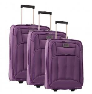 Lot de 3 valises-chariots POLYESTER 600D prune