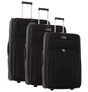 Lot de 3 valises-chariots POLYESTER 600D noir